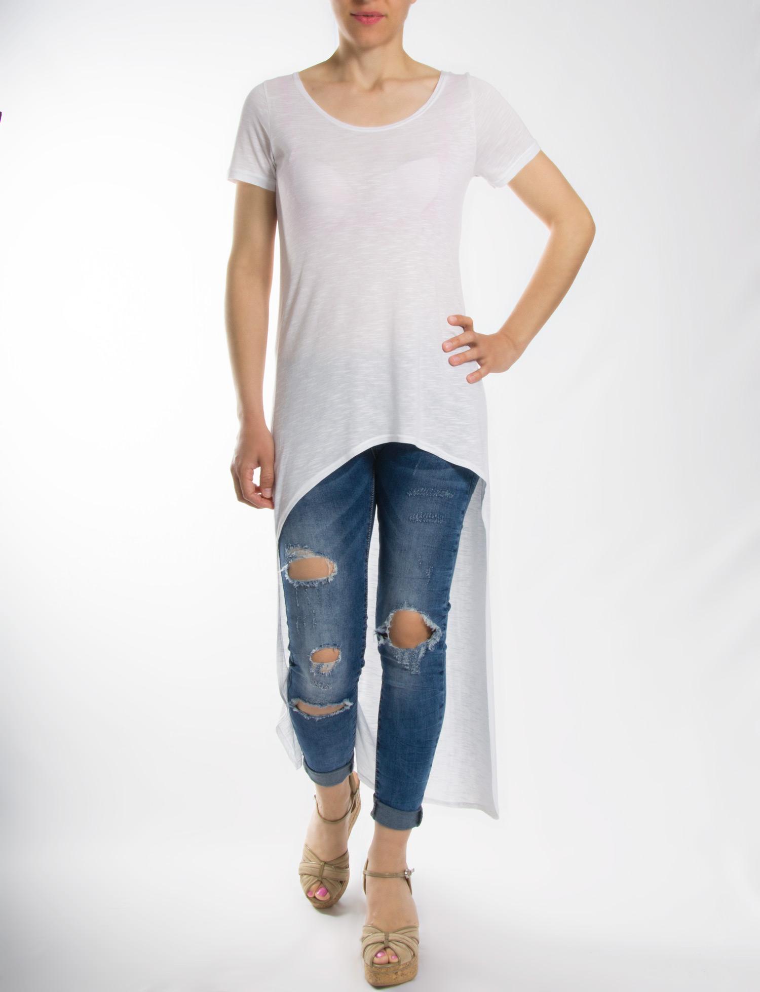 Μπλούζα λευκή ασύμμετρη