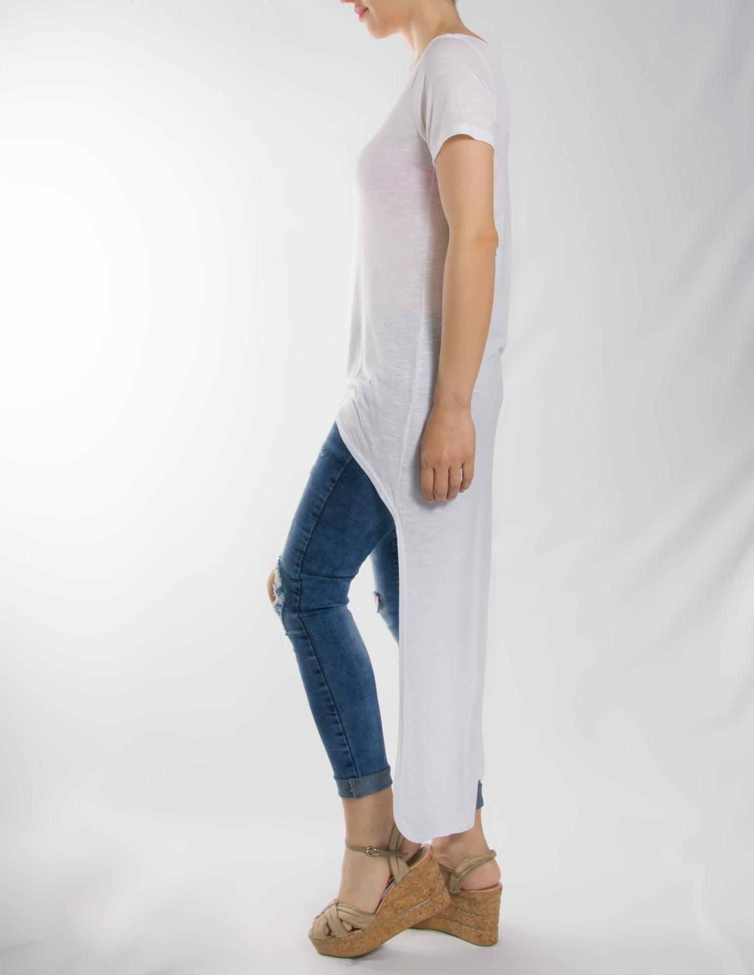 Μπλούζα λευκή ασύμετρη