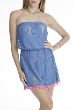 Φόρεμα mini με δαντέλα και pom pom