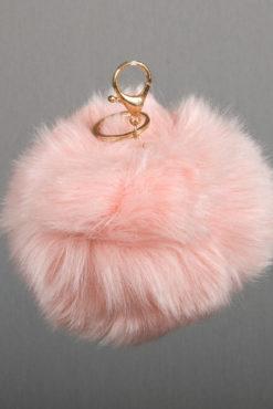 Μπρελόκ με baby pink XL φούντα