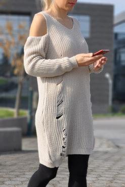 Πλεκτό ζιβάγκο μπλουζοφόρεμα