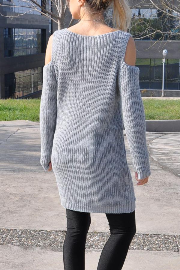Πλεκτό off-shoulder μπλουζοφόρεμα