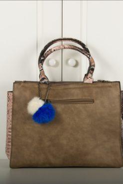 Ευρύχωρη τσάντα χειρός με τύπωμα φιδιού