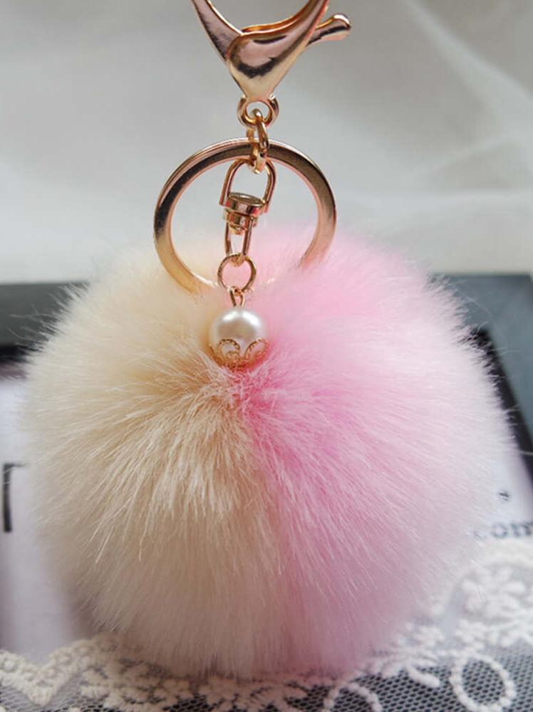Μπρελόκ με δίχρωμη φούντα (εκρού-ροζ)