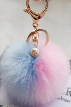 Μπρελόκ με δίχρωμη φούντα (ροζ-γαλάζια)