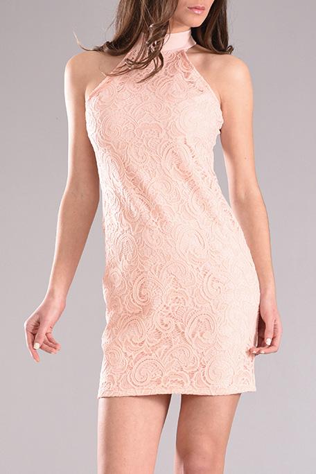 36cab8aa39b Φόρεμα mini με δαντέλα σε ροζ χρώμα - 2017 | PICK STORE