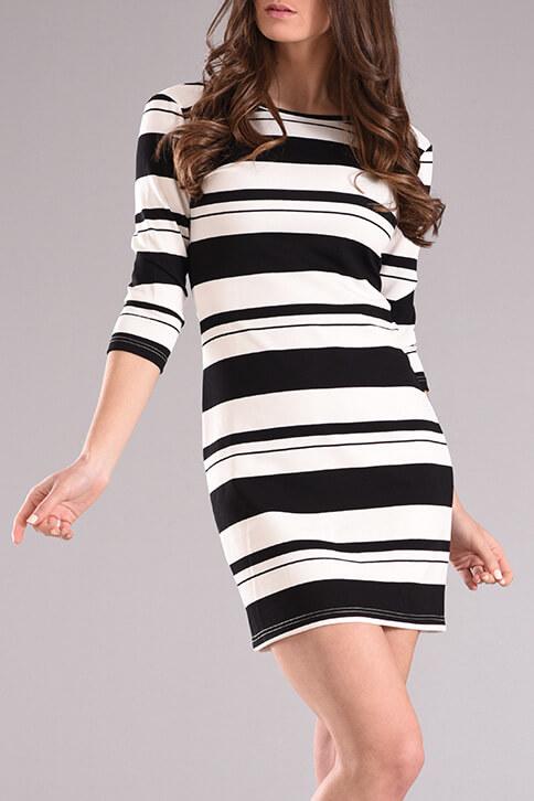 9908a7bf6ad1 Φόρεμα ριγέ σε ίσια γραμμή άσπρο-μαύρο - 2017