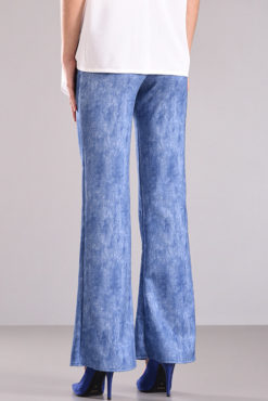 Παντελόνι καμπάνα σε ελαστικό ύφασμα με τζιν εμφάνιση