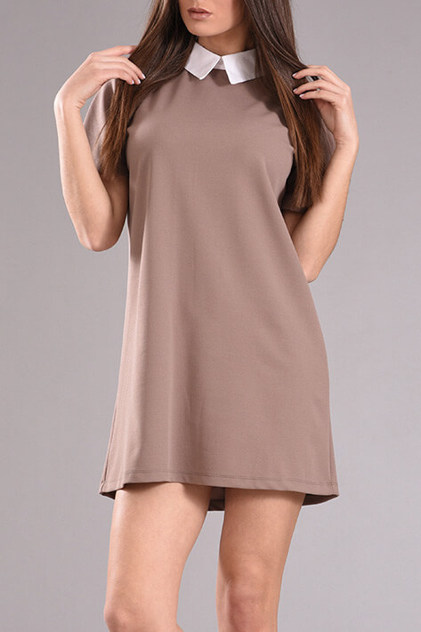 a56a0e1268f Φόρεμα με γιακά και κοντό μανίκι σε πούρο χρώμα - 2017 | PICK STORE