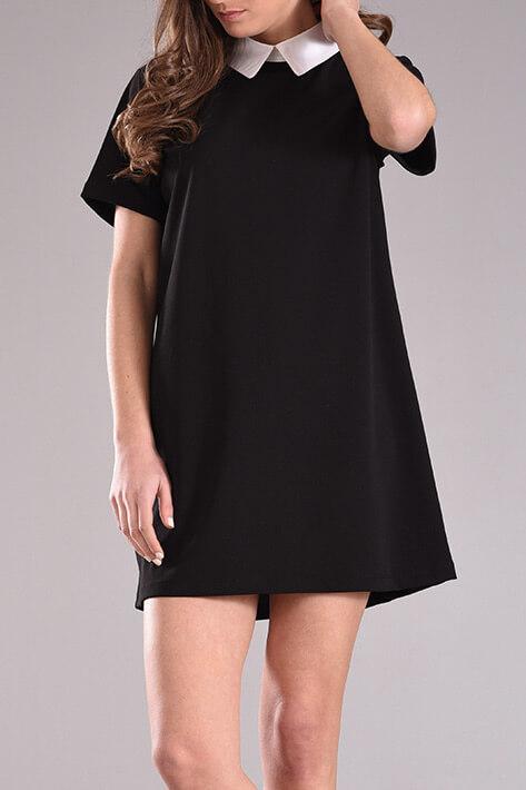 98a75419a640 Φόρεμα με γιακά και κοντό μανίκι σε μαύρο χρώμα - 2017