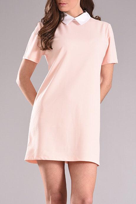 94c673846bce Φόρεμα με γιακά και κοντό μανίκι σε ροζ χρώμα - 2017