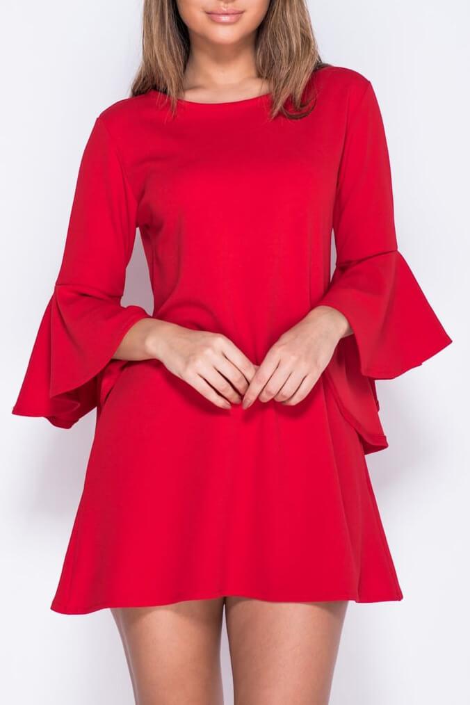 Φόρεμα κοντό με βολάν στα μανίκια