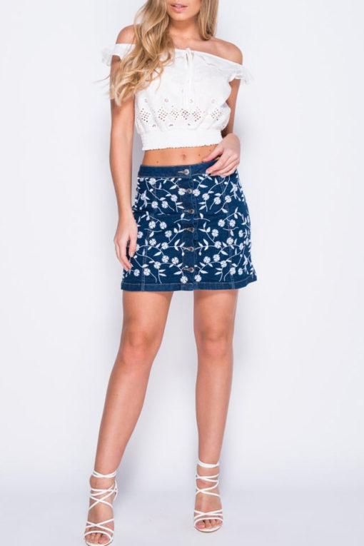 Denim μίνι φούστα με λουλουδάτο κέντημα