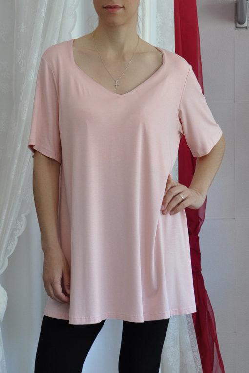 Μπλούζα longline ροζ