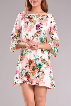 Φόρεμα φλοράλ με 3/4 μανίκι