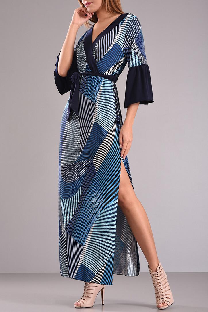 22b7c541497 Φόρεμα μακρύ κρουαζέ με δέσιμο στην μέση | 2017 - PICK STORE