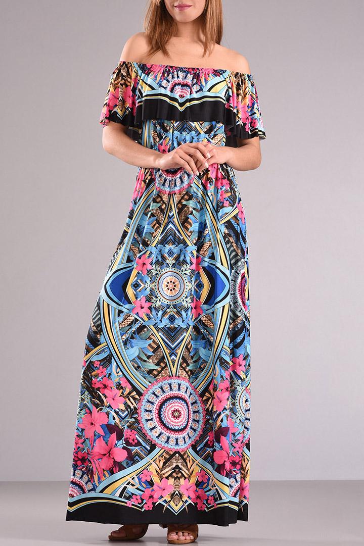 Φόρεμα μακρύ εμπριμέ με βολάν