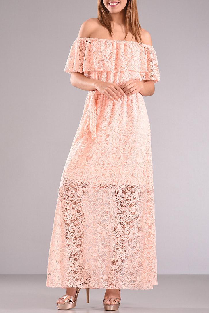 Φόρεμα μακρύ με δαντέλα και βολάν