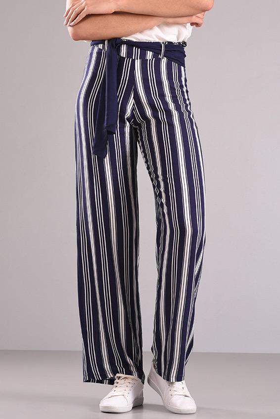 Παντελόνα ριγέ ψηλόμεση (μπλε - λευκό)