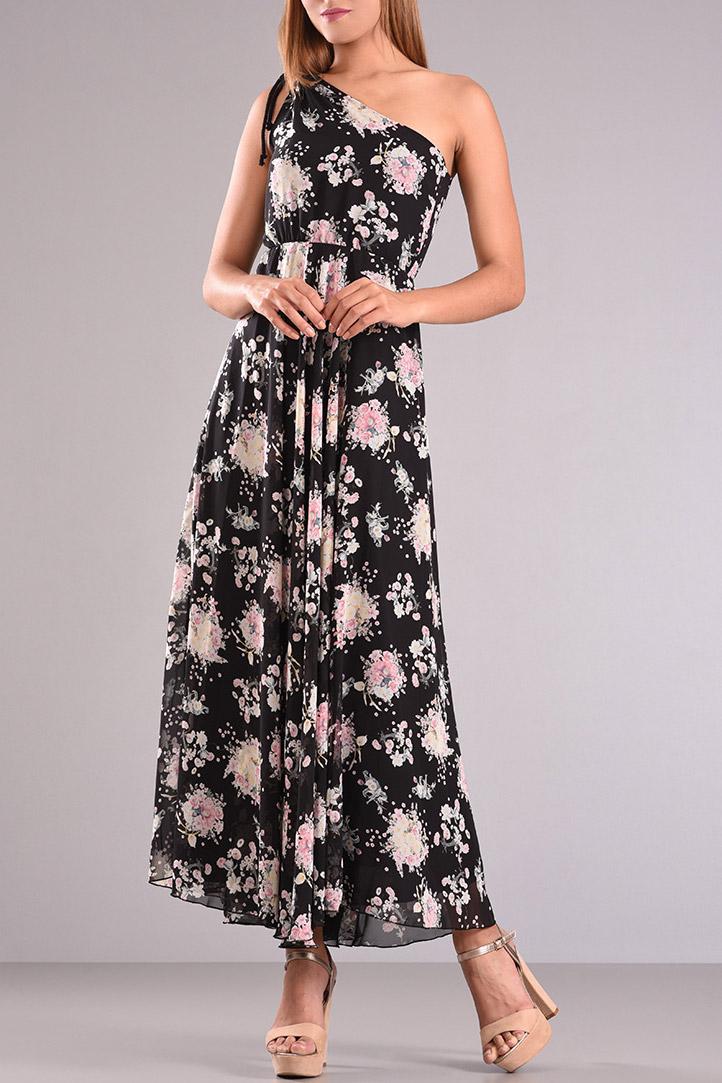 fb193fa0e9a5 Φόρεμα maxi με έναν ώμο εμπριμέ σε μαύρο χρώμα – Pick Store