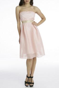 Φόρεμα στράπλες δαντέλα με ζώνη στη μέση