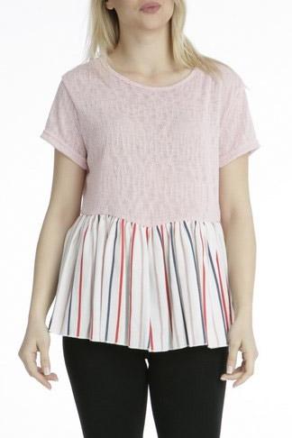 Μπλούζα κοντομάνικη ροζ με ποπλίνα ριγέ