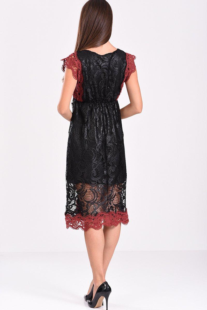 Φόρεμα αμάνικο με δαντέλα σε άλφα γραμμή μαύρο - πίσω όψη