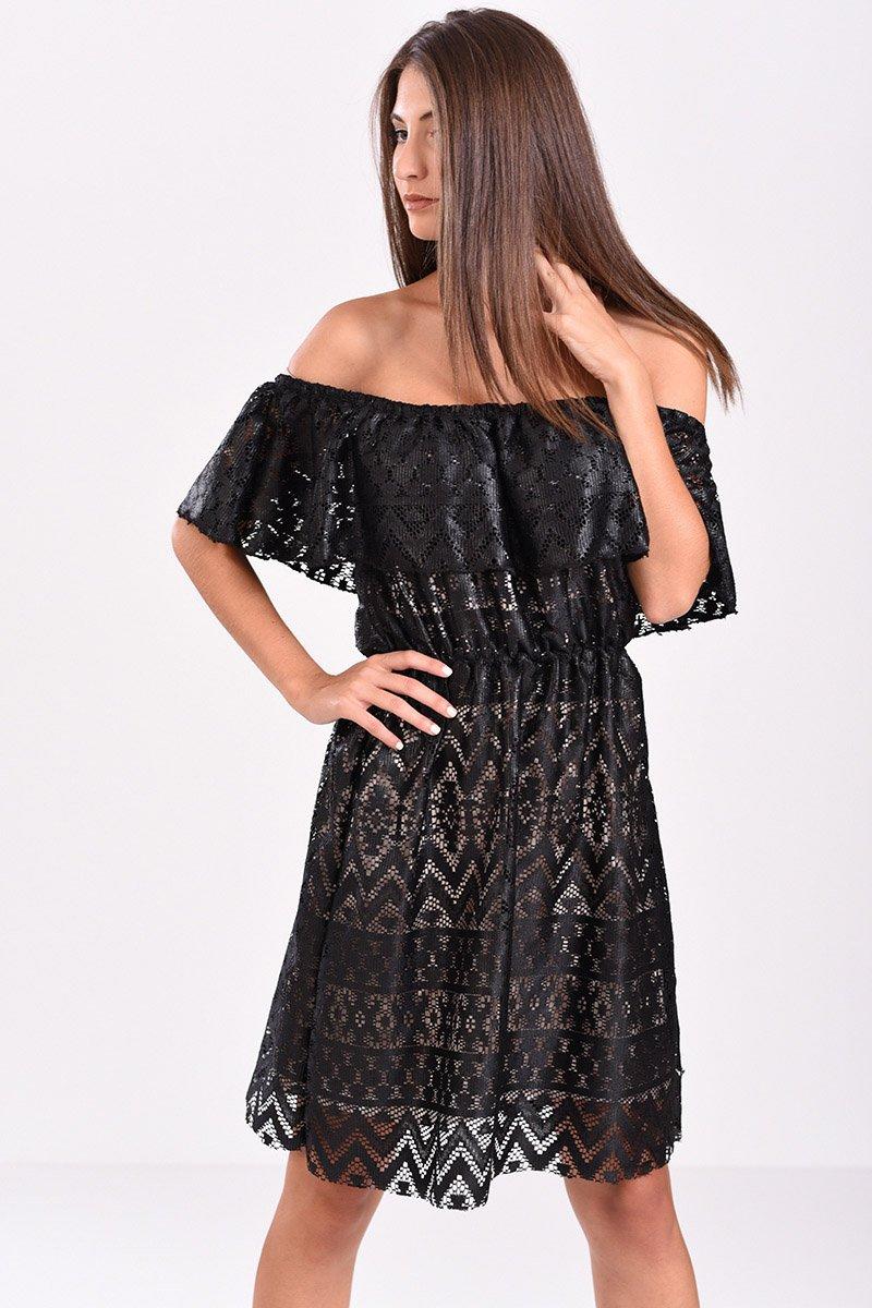 Φόρεμα με δαντέλα κι ανοιχτούς ώμους μαύρο