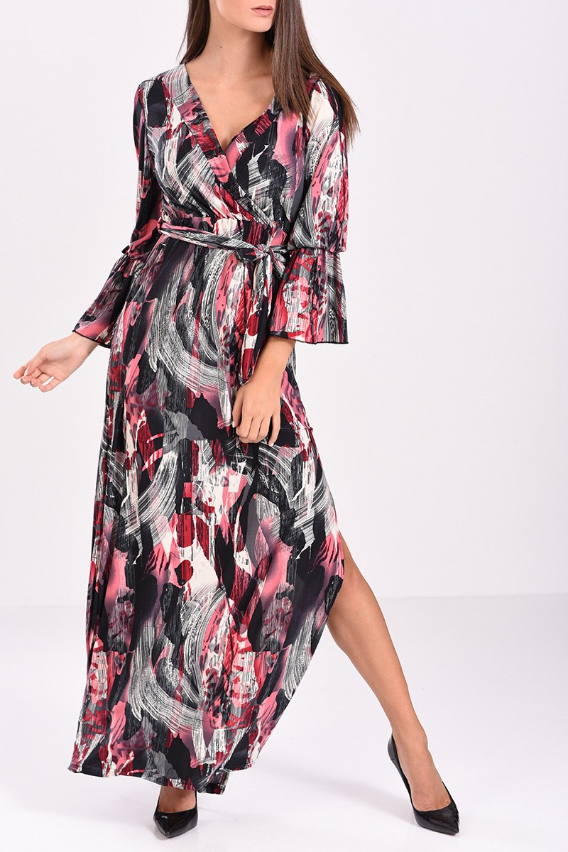8d5fba9d29e4 φόρεμα μακρύ κρουαζέ με δέσιμο στην μέση εμπριμέ σε μπορντό και μαύρες  αποχρώσεις