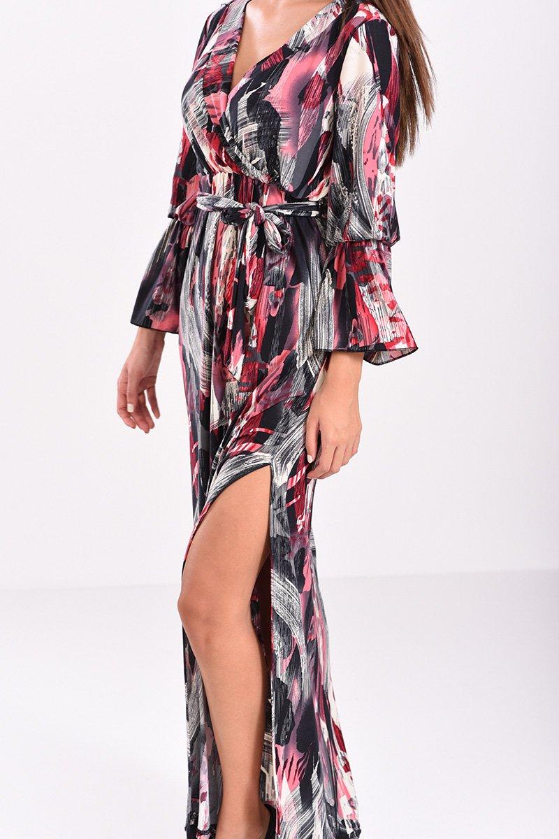 72b899515134 φόρεμα μακρύ κρουαζέ εμπριμέ σε μπορντό και μαύρες αποχρώσεις