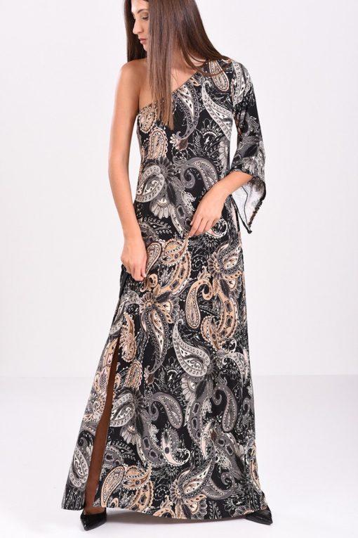 768ec66d81fb μακρύ φόρεμα με σκίσιμο στο πλάι κι έναν ώμο έξω