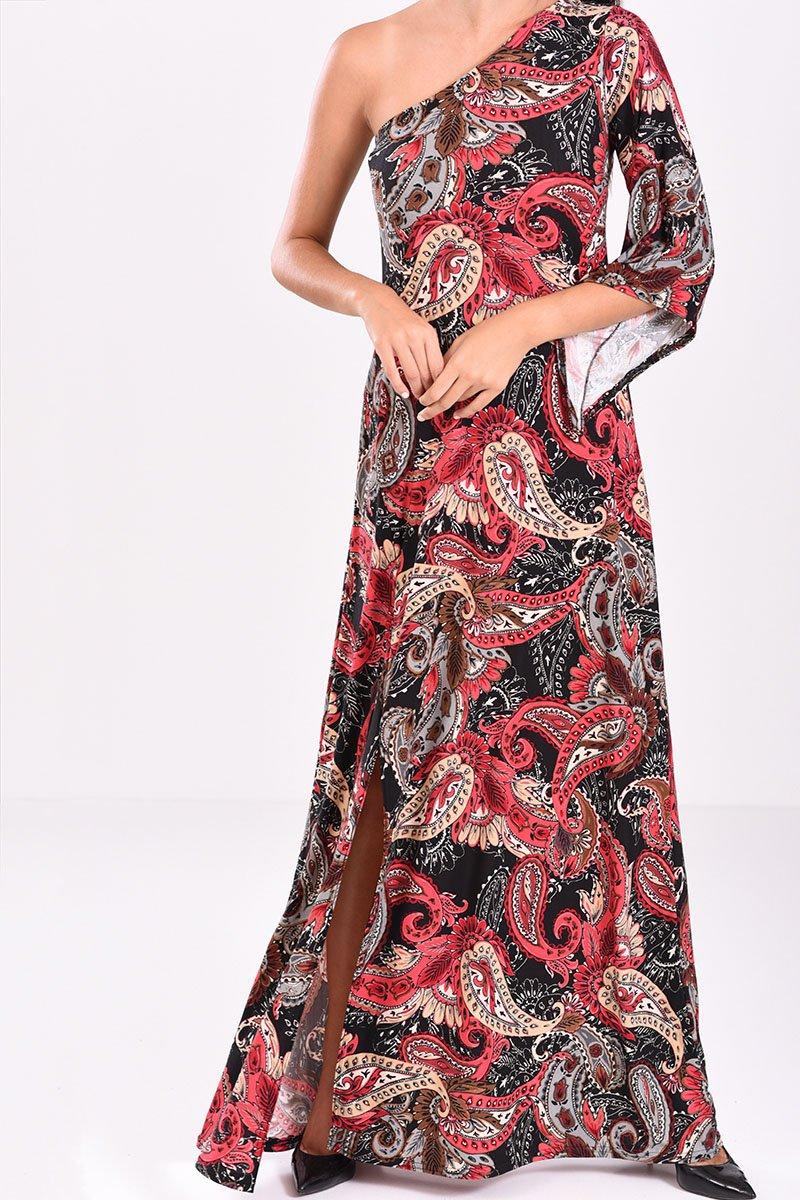 857317155959 Φόρεμα μακρύ με έναν ώμο εμπριμέ σε μπορντό αποχρώσεις