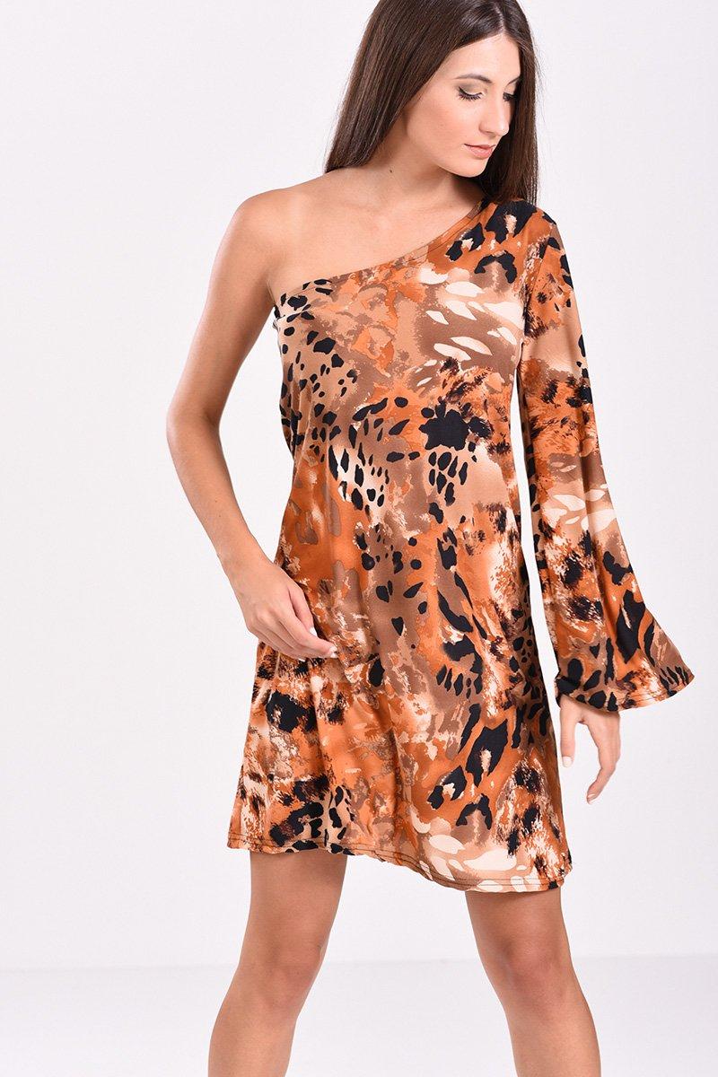 470705214644 Φόρεμα κοντό εμπριμέ με έναν ώμο σε ταμπά αποχρώσεις - 2017   2018
