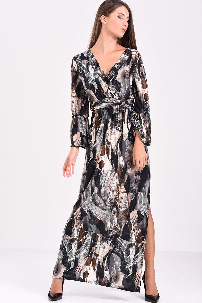63cf43b2c41e φόρεμα μακρύ κρουαζέ με ζώνη στην μέση, εμπριμέ (γκρι - μαύρο)