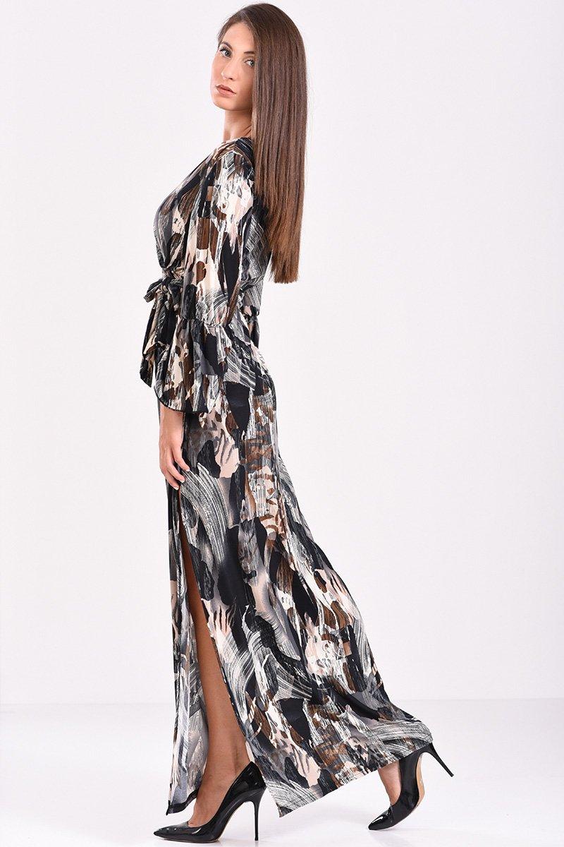 ce34448fa6f9 μακρύ φόρεμα κρουαζέ με ζώνη στη μέση, σκίσιμο στο πλάι σε γκρι μαύρες  αποχρώσεις