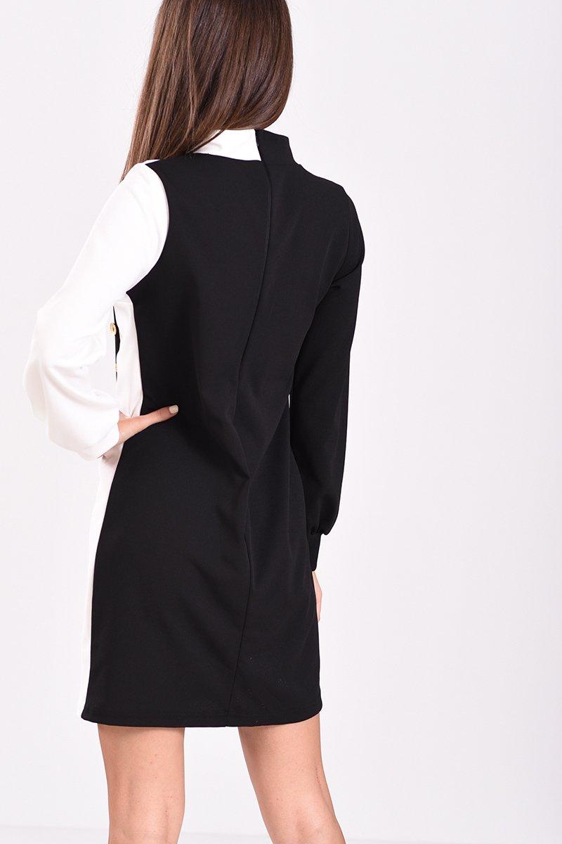 26bccebe585d Μακρυμάνικο φόρεμα με διακοσμητικά κουμπιά ασπρόμαυρο
