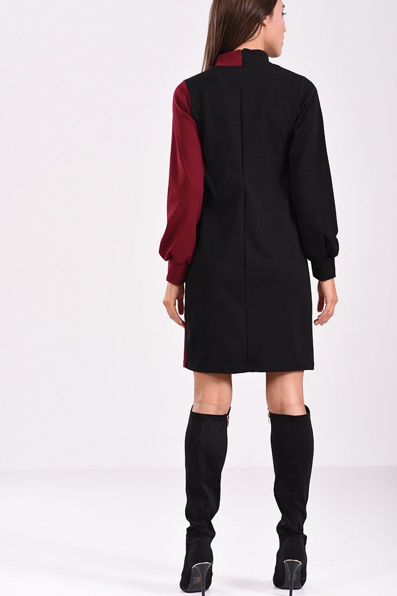 bff417672831 Μακρυμάνικο φόρεμα με διακοσμητικά κουμπιά σε στενή γραμμή - πίσω όψη