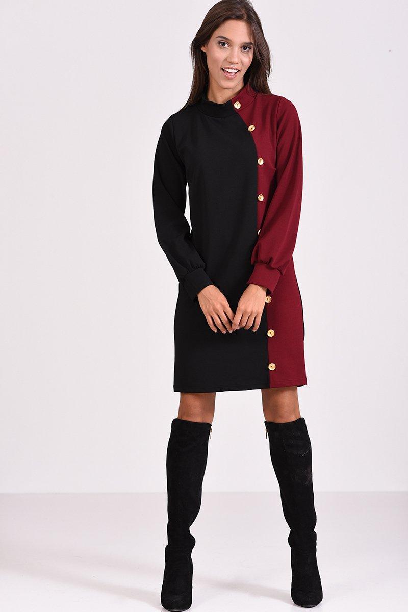 f4ae1c46af64 Μακρυμάνικο φόρεμα με διακοσμητικά κουμπιά σε στενή γραμμή - μπορντό μαύρο