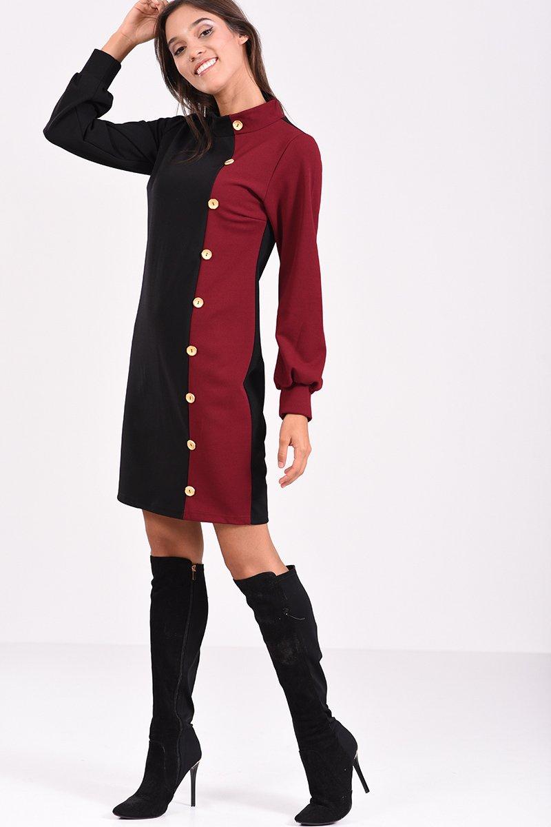 2a242165bf98 Μακρυμάνικο φόρεμα με διακοσμητικά κουμπιά σε στενή γραμμή
