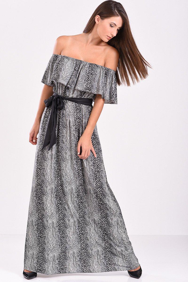 5ce77bca5c1d Φόρεμα μακρύ έξωμο με βολάν στο στήθος σε γκρι αποχρώσεις