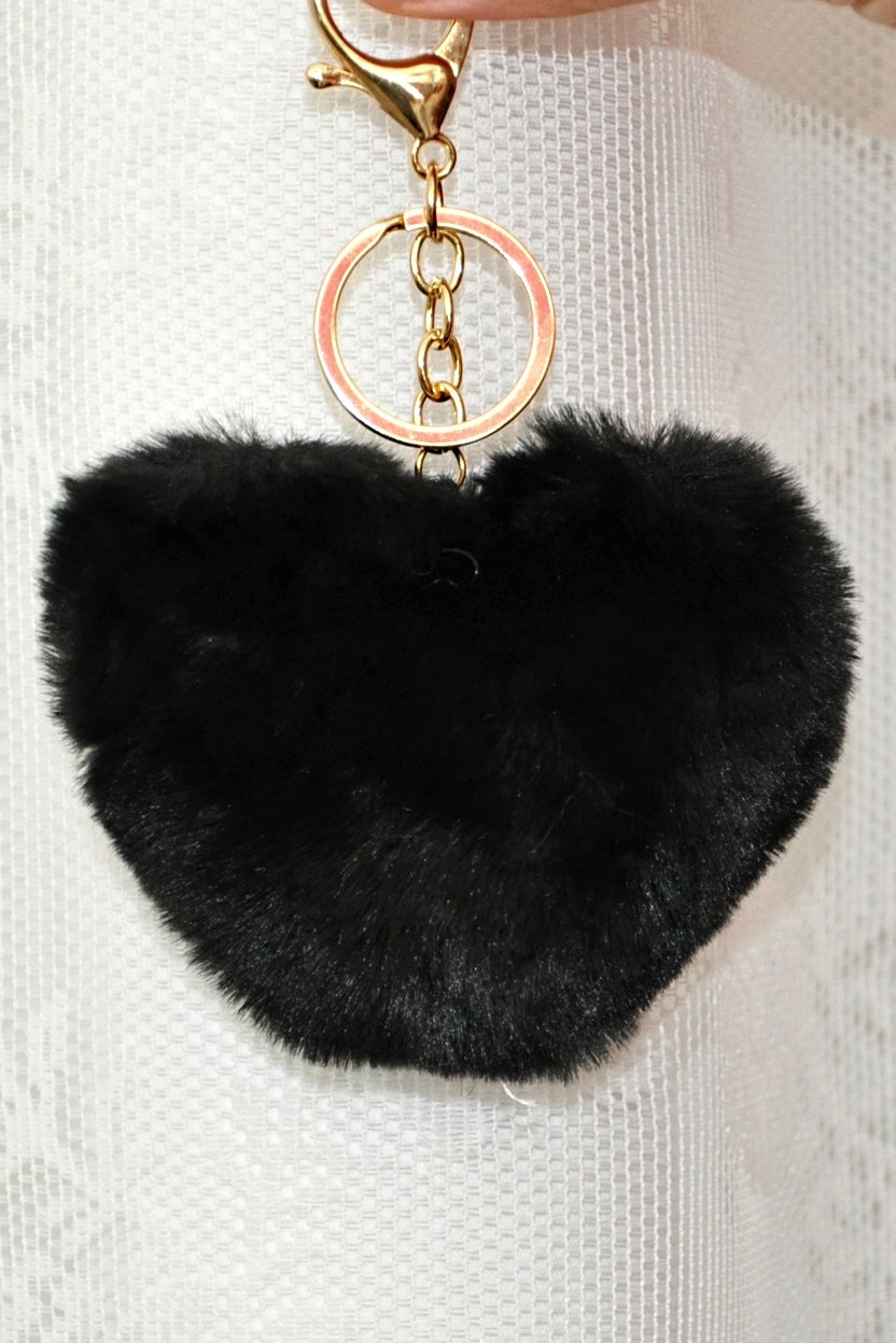 Faux γούνινο μπρελόκ με μαύρη φούντα σε σχήμα καρδιάς