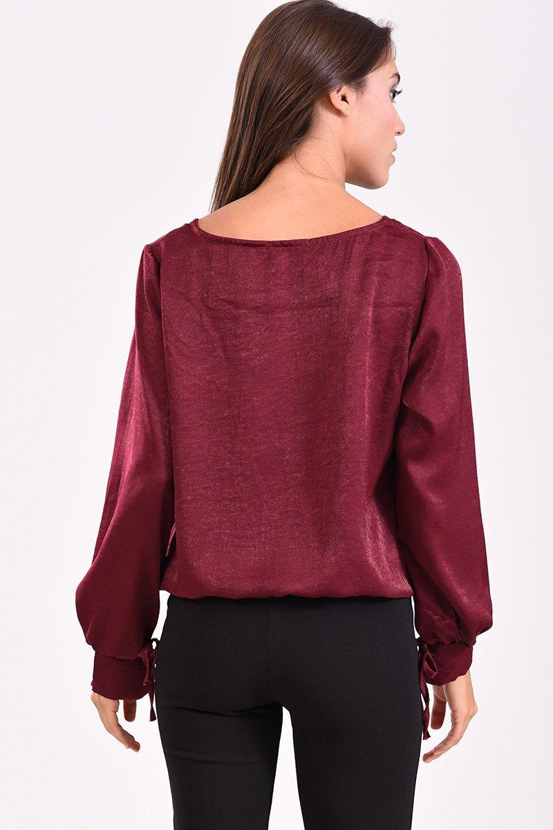 Μπλούζα με δέσιμο στο μανίκι μπορντό - πίσω όψη