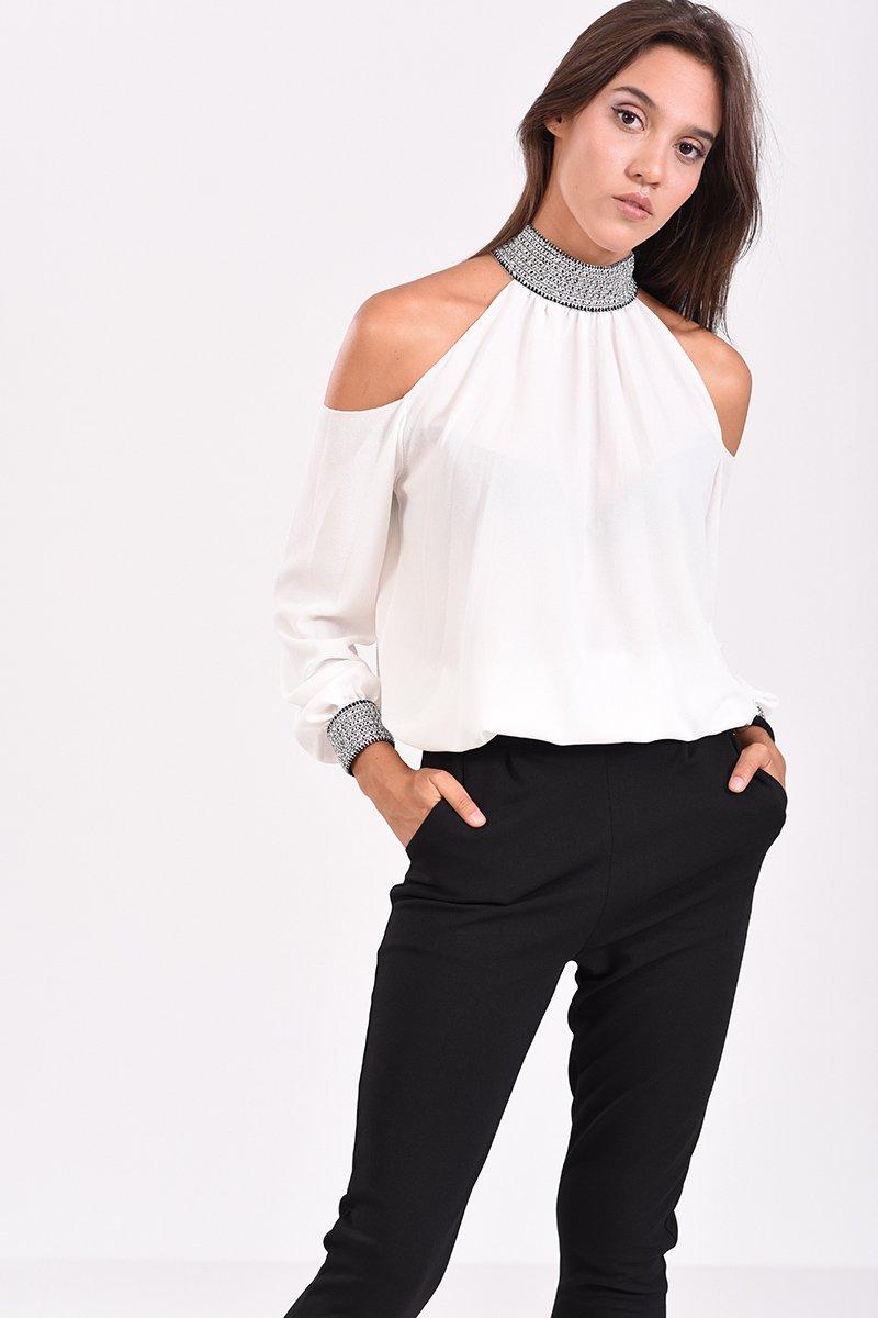 Μπλούζα με έξω ώμους και λάστιχο στο τελείωμα λευκή