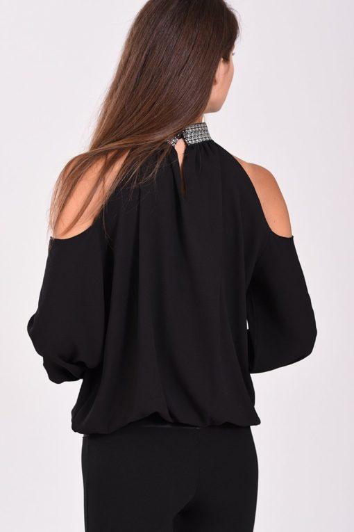 Μπλούζα έξωμη με λάστιχο στο τελείωμα μαύρη