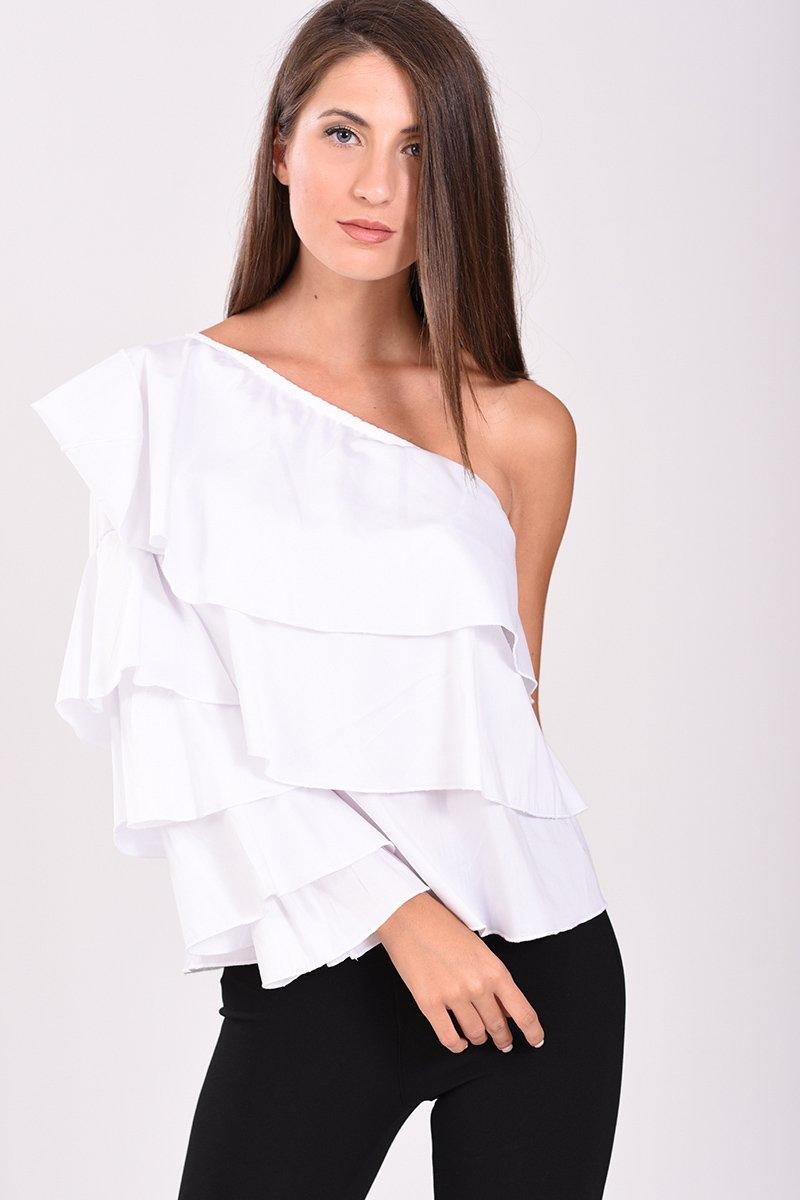μπλούζα με βολάν κι έναν ώμο σε εκρού χρώμα