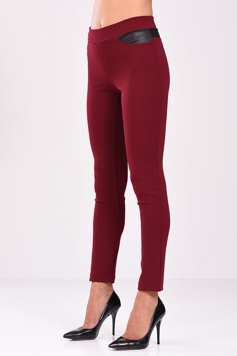 Ψηλόμεσο παντελόνι κολάν με στοιχεία δερματίνης σε μπορντό χρώμα