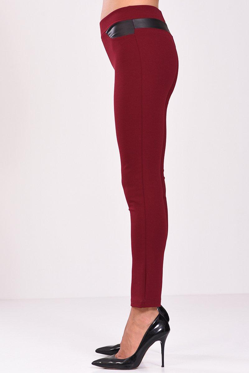Ψηλόμεσο παντελόνι κολάν με στοιχεία δερματίνης μπορντό - πλάγια όψη