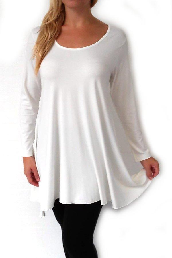 Γυναικεία μπλούζα εκρού σε άλφα γραμμή με λαιμόκοψη - Μεγάλο μέγεθος 24c45a19978