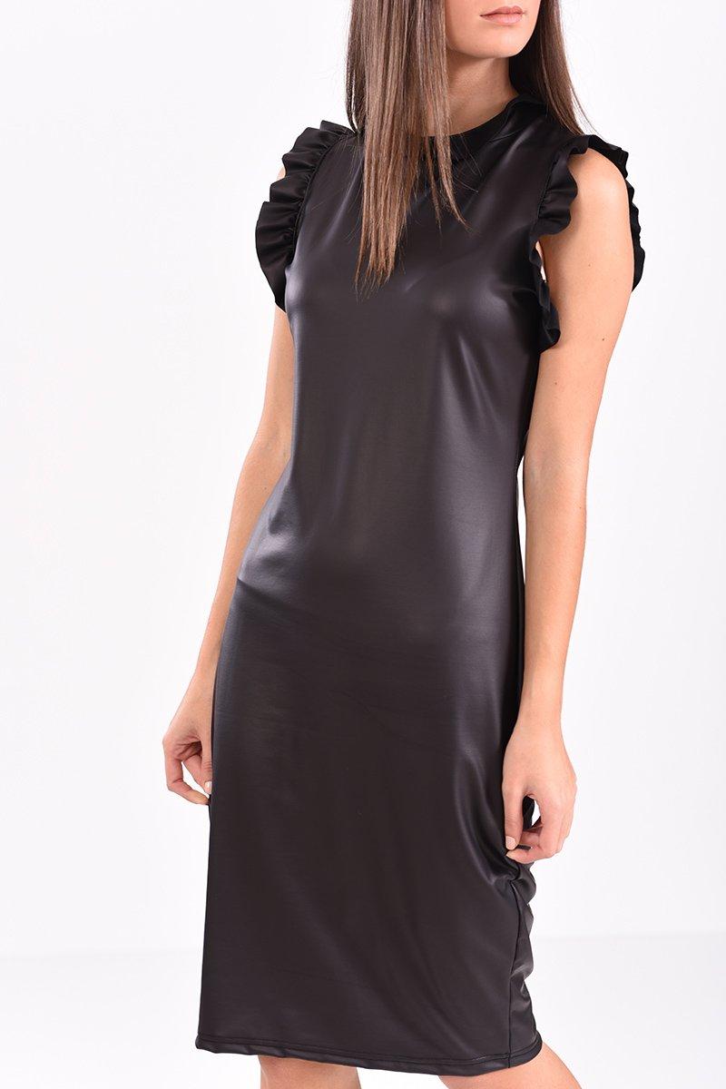 Φόρεμα δερματίνη σε ίσια γραμμή μαύρο
