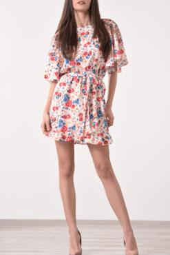 Φόρεμα φλοράλ με βολάν τελείωμα
